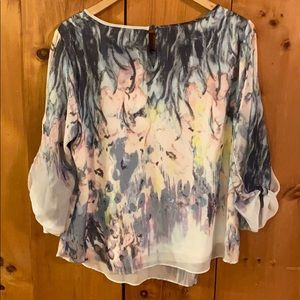 cleo Tops - LG Floral Watercolour Blouse